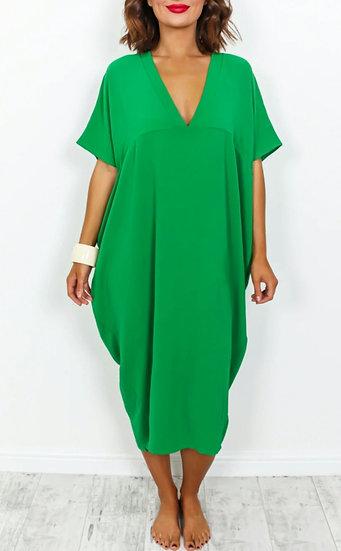 Oversized V Neck Midi Dress -Emerald Green