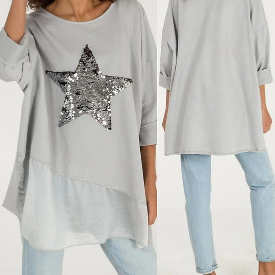 Sequin star silk hem layer top - Light grey
