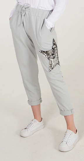 Sequin Star Joggers -Ice grey