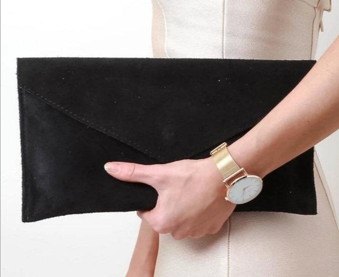 Suede leather envelope clutch bag -Black