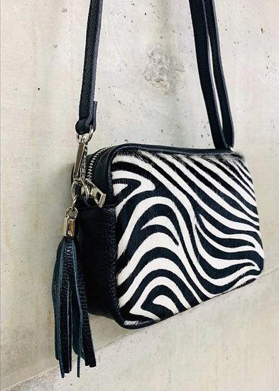 Animal Print Italian Leather Cross body Bag -Zebra