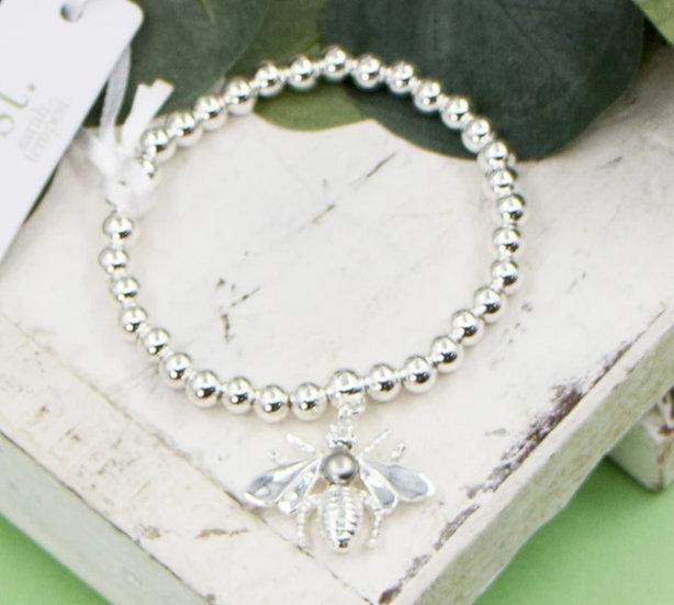 Silver Beaded Bee Bracelet