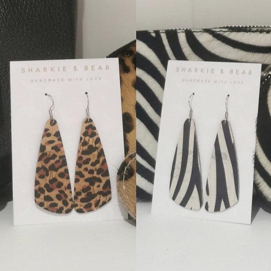 Portuguese Cork Drop Animal Print Earrings