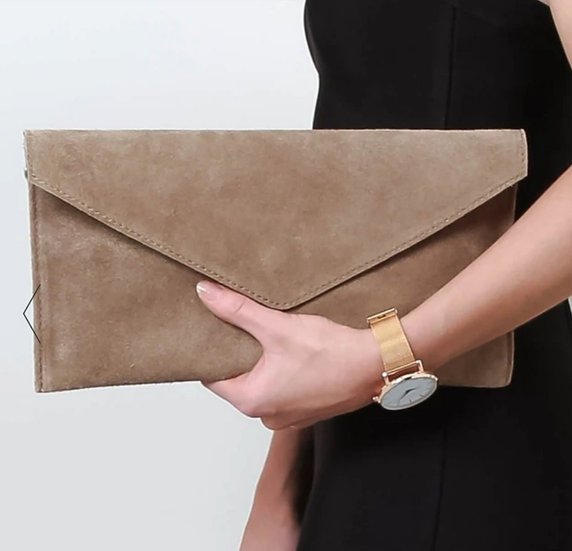 Suede leather envelope clutch bag -Taupe