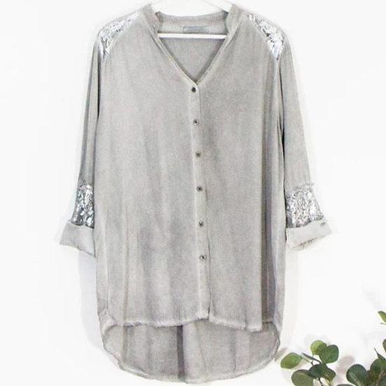 Faded Grey Lagenlook Style Shirt