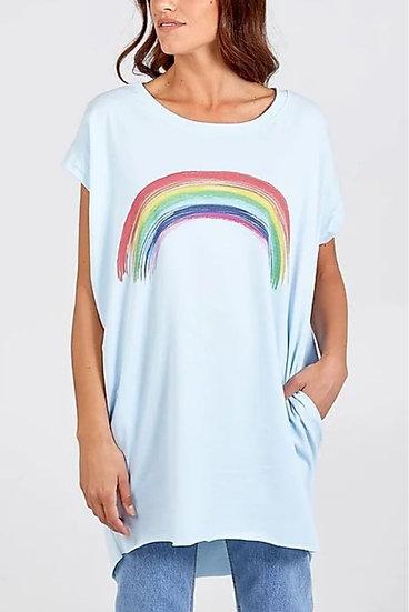 Rainbow Oversized Boyfriend Tee - Sky Blue