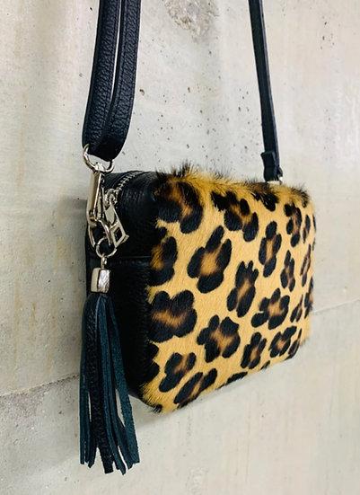 Animal Print Italian Leather Cross body Bag -Leopard