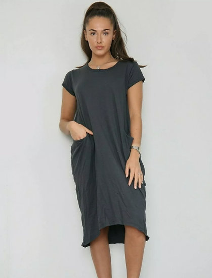 Front Pocket T shirt Dress -Charcoal
