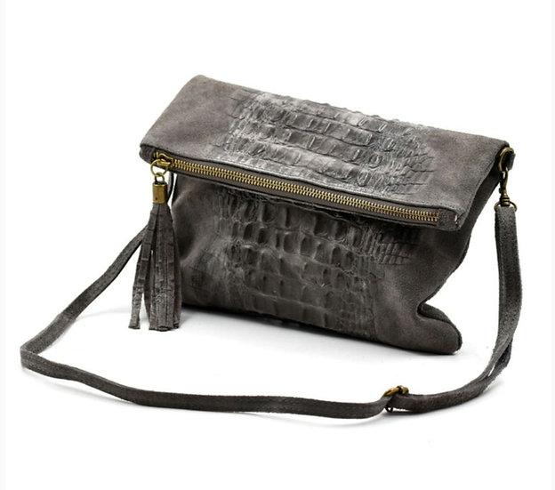 Made in Italy suede leather croc skin clutch bag -Grey