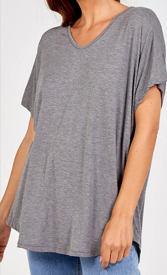 Short Sleeve Curve Cut Top -Dark grey