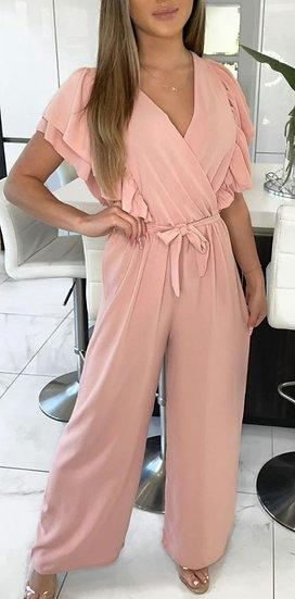 Frill Sleeve Wide Leg Jumpsuit -Blush Pink