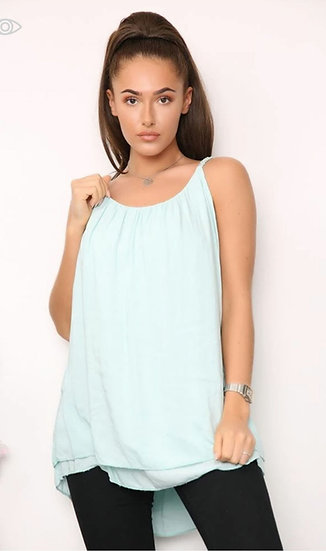 Plaited Strap Double Layer Floaty Cami -Mint