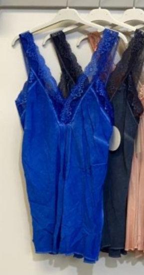 Lace Strap Cami Top -Royal Blue