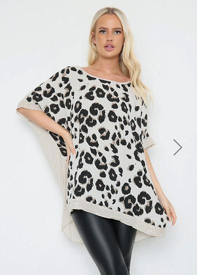Sequin Edge Leopard Print Top -Beige