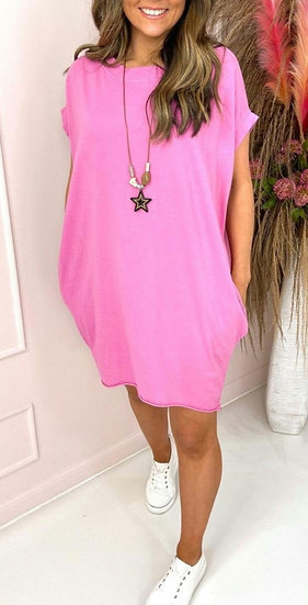 Oversized Tee with Star Necklace -Pink