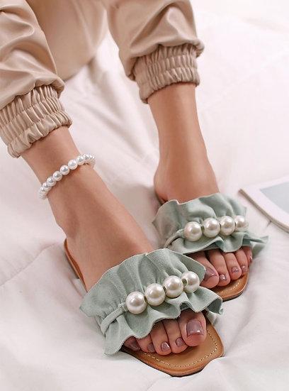 Italian Style Pearl Frill Sliders -Mint