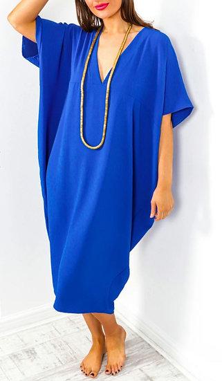 Oversized V Neck Midi Dress -Cobalt Blue