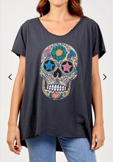 Embellished Skull Tee- Charcoal
