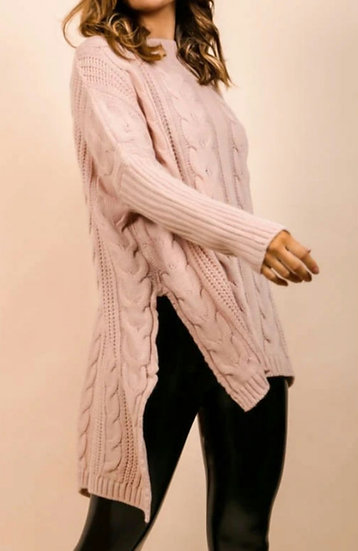 Oversized Longline Cable knit Jumper -Pink