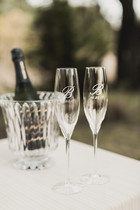 Engraved Waterford flutes