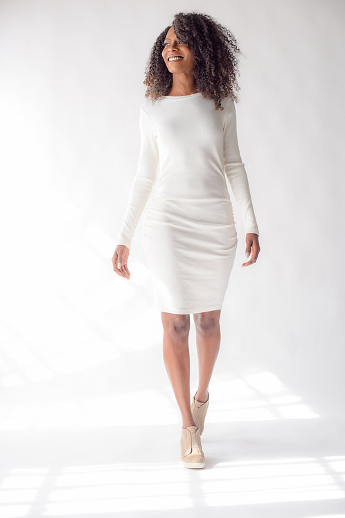 Mini Ribbed Long Sleeve Dress