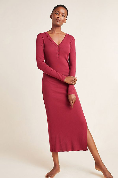 Ribbed Henley Midi Dress