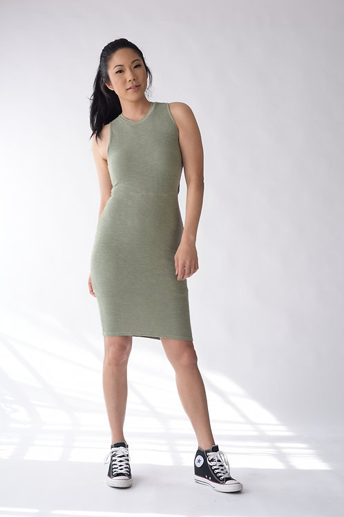 Mesh Dress w/ Cut Out Back