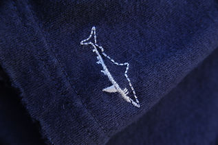 detail close up of stitched white shark