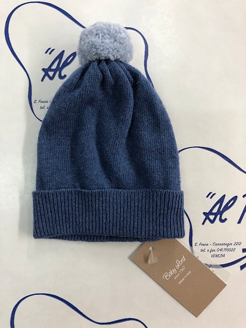 Cuffietta in lana e cachemire BABY LORD blu avio