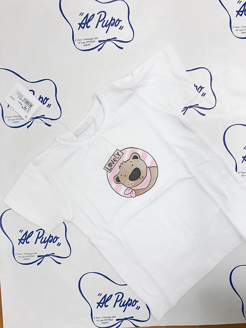 T-shirt Bianca ORSETTO rosa