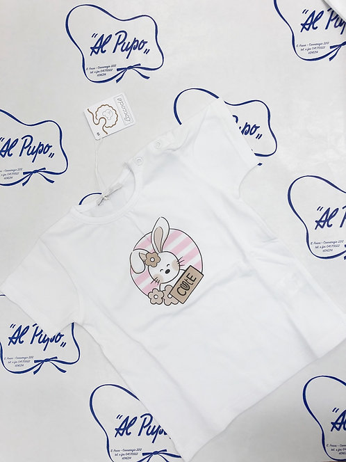 T-shirt Bianca CONIGLETTO rosa