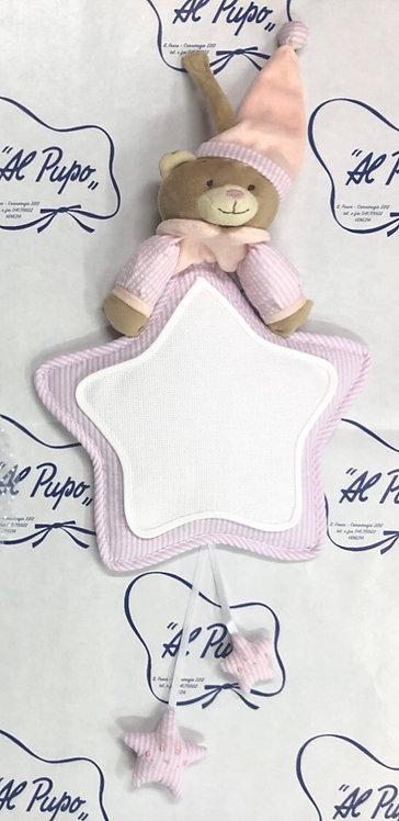 FIOCCO NASCITA  a forma di stella con orsetto color rosa