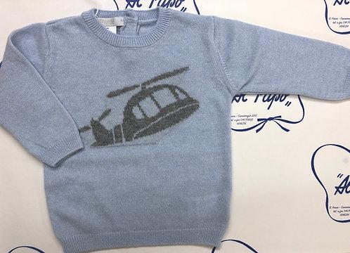 Maglione lana e cachemire Coccodè azzurro con elicottero grigio