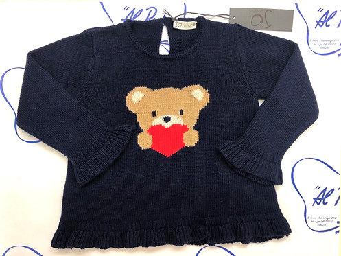 Maglione lana e cachemire JoMilano blu notte con orsetto