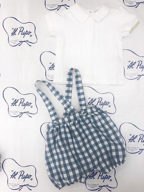 Completo t-shirt bianca e salopette a quadretti