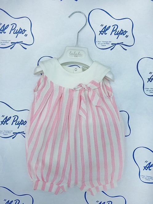 Pagliaccetto in lino a righe bianche e rosa