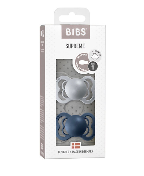 Set 2 ciucci BIBS grigio e blu SILICONE