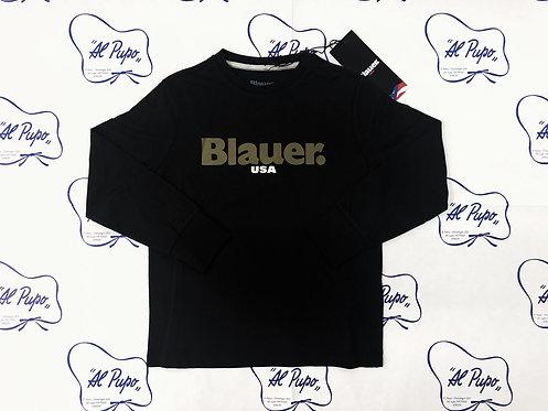 T-shirt manica lunga in cotone BLAUER nera con scritta verde militare