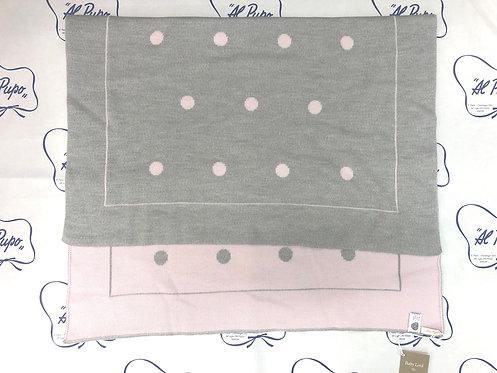 Coperta pura lana artigianale Baby Lord a pois grigio e rosa acido reversibile