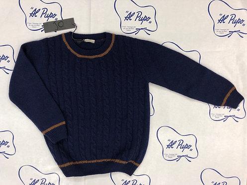 Maglione lana e cachemire JoMilano blu on trecce  e bordi marroni