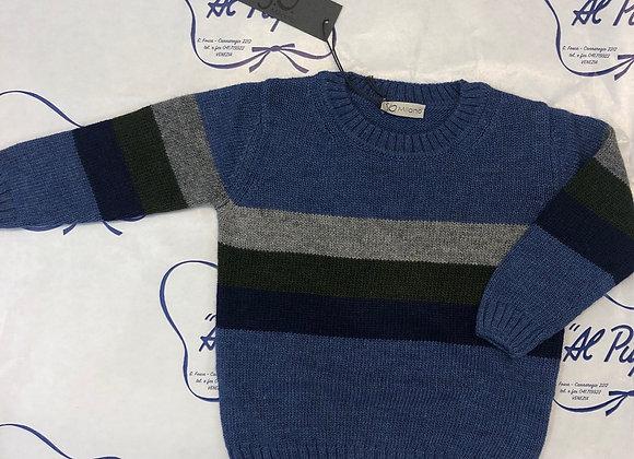 Maglione lana e cachemire JoMilano azzurro avio e righe