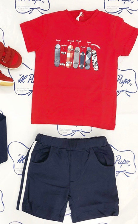 Completo 2 pezzi t-shirt e pantaloncino blu SARABANDA rosso e blu