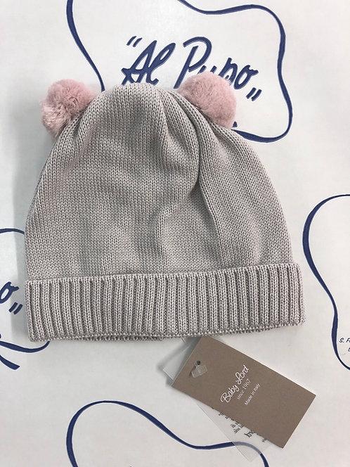Cuffietta in pura lana artigianale BABY LORD sabbia rosa antico