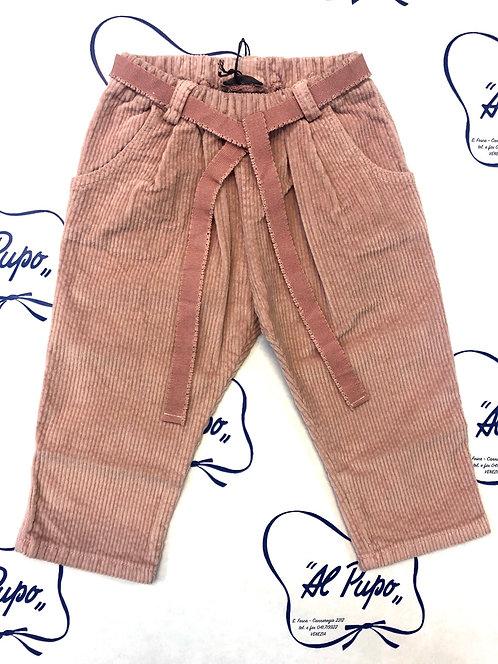 Pantaloni in velluto rigato JoMilano rosa antico