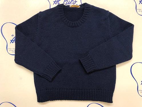 Maglione in pura lana merinos Baby Lord artigianale Blu