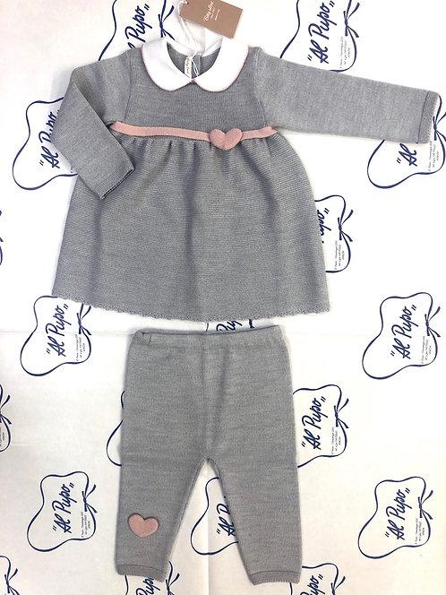 Completo pura lana BABY LORD artigianale grigio e rosa antico