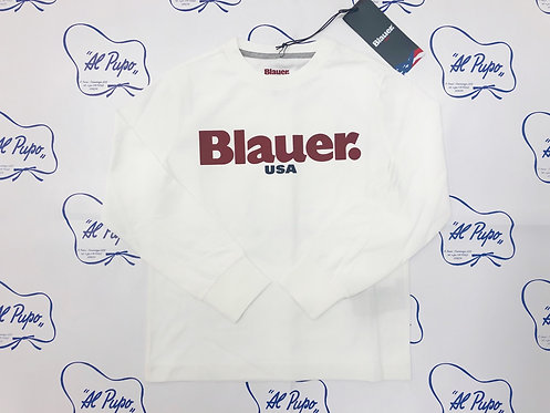 T-shirt manica lunga in cotone BLAUER bianca con  scritta bordeaux