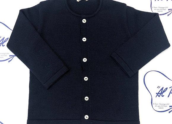 Cardigan in pura lana merinos Baby Lord artigianale Blu