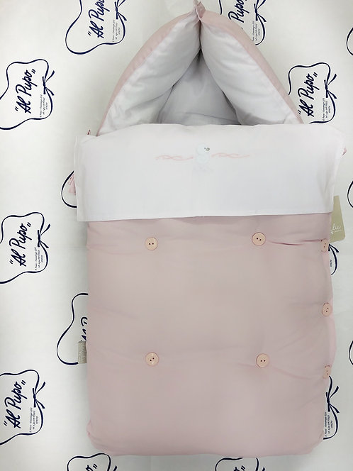 Sacco da culla e carrozzina biano e rosa LALALU