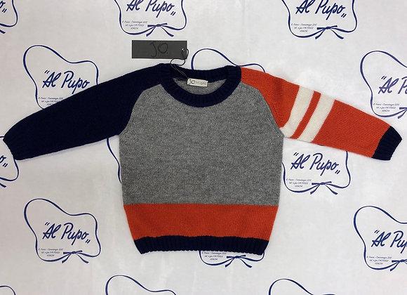 Maglione lana e cachemire JoMilano grigio, arancione blu e bianco